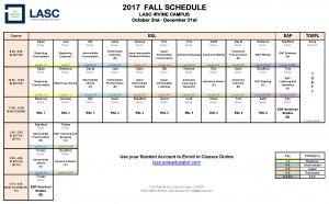 2017 Fall Schedule Irvine