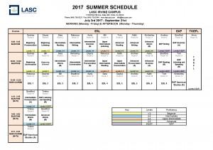 2017 Summer Schedule Irvine