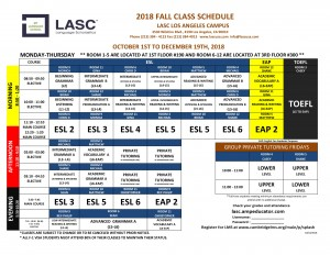 LA Class Schedude Fall 2018-1