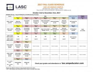 LA Fall 2017 Class Schedule