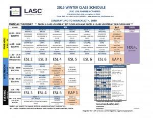 LA Winter Class Schedule 2019-1