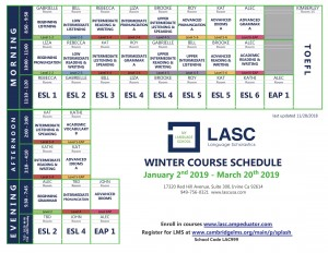LASC Course Schedule Winter 2019 Irvine-1