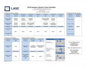 RH Class Schedule - Summer 2018